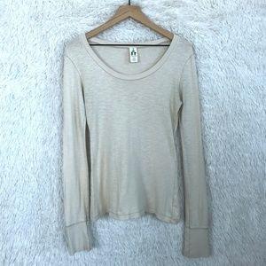 Beige Knit Top Extra Long Sleeves Free People